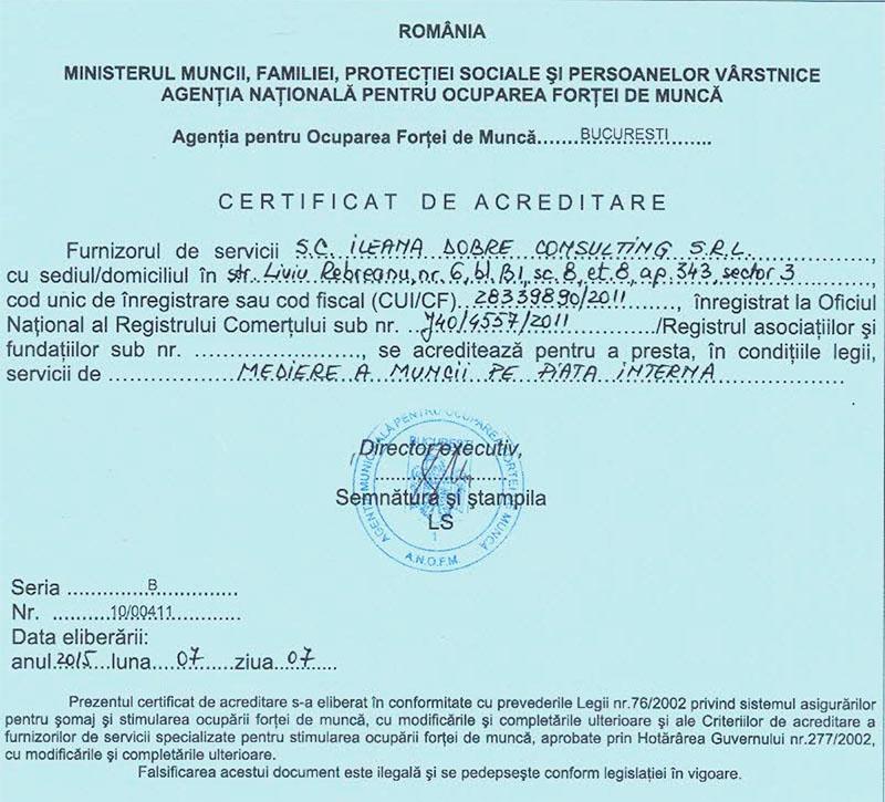 Acreditare mediere a muncii pe piata interna - Agentia Ileana Dobre